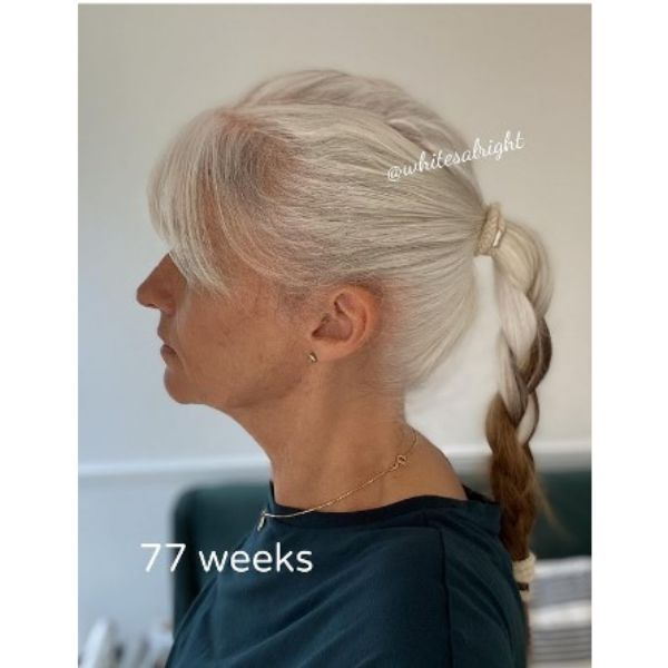 White Braided Ponytail With Brown Insertions Medium Hairstyles For Older Women