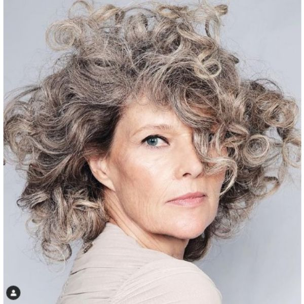 Wild Curly Silver Gray Medium Hairstyles For Older Women