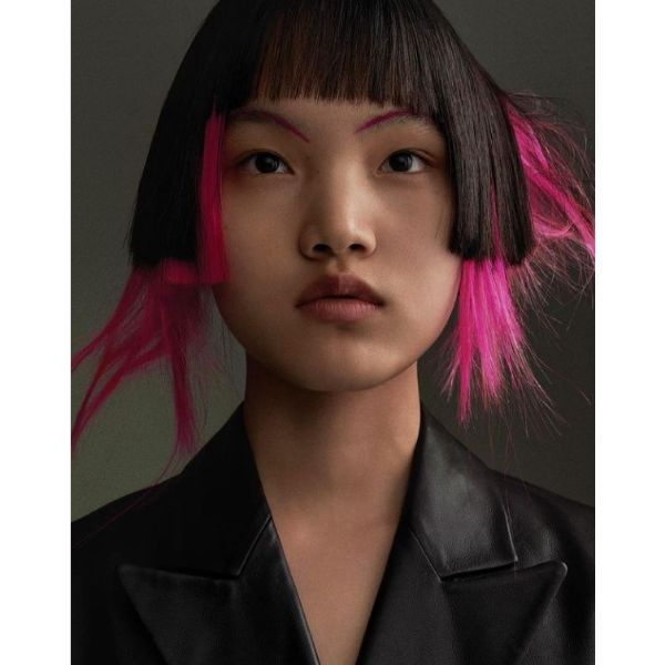 Asymmetric Two-colored Bob With Pink And Black cute hairstyles for short hair