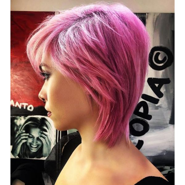 Candy Pink Short Hairstyle For Women cute hairstyles for short hair
