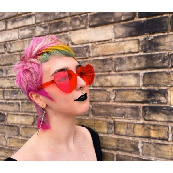 Candy Pink Short Rock Mullet With Green Yellow Baby Bangs