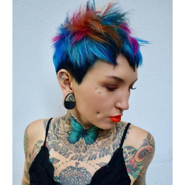 Chopped Spiky Vibrant Colored Pixie cute hairstyles for short hair