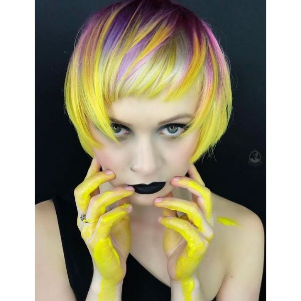 Cute Short Bob With Pastel Yellow And Purple Highlights