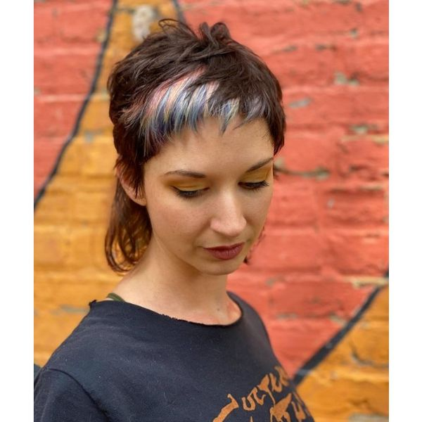 Cute Short Mullet Hairstyle With Color Splash cute hairstyles for short hair