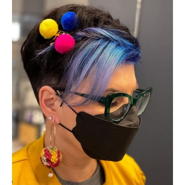 Dark Pixie With Front Highlights And Colorful Hair Pins