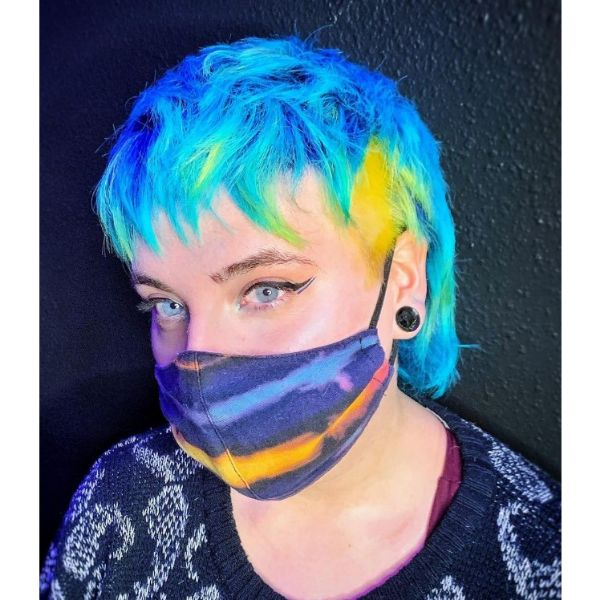 Electric Blue Pixie With Blonde Razored Sides