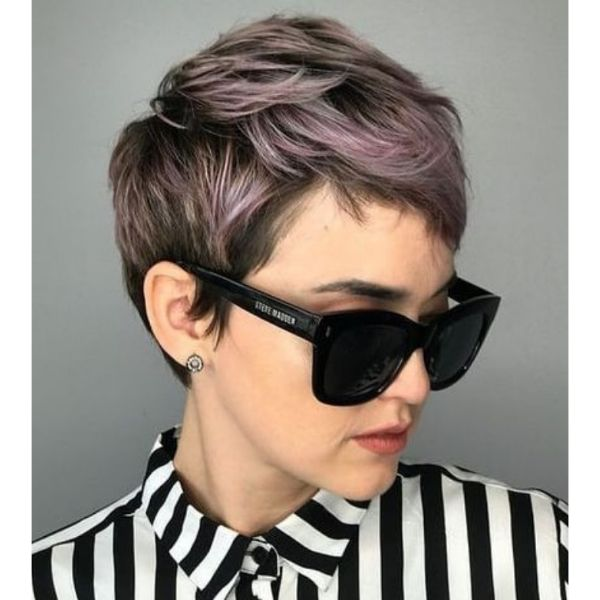 Faded Lavender Hued Pixie Hairstyle