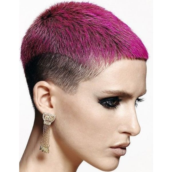 Fuchsia Colored Buzz Cut With Natural Sideburns cute hairstyles for short hair
