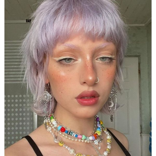 Lilac Messy Blonde Bob With Straight Bangs cute hairstyles for short hair