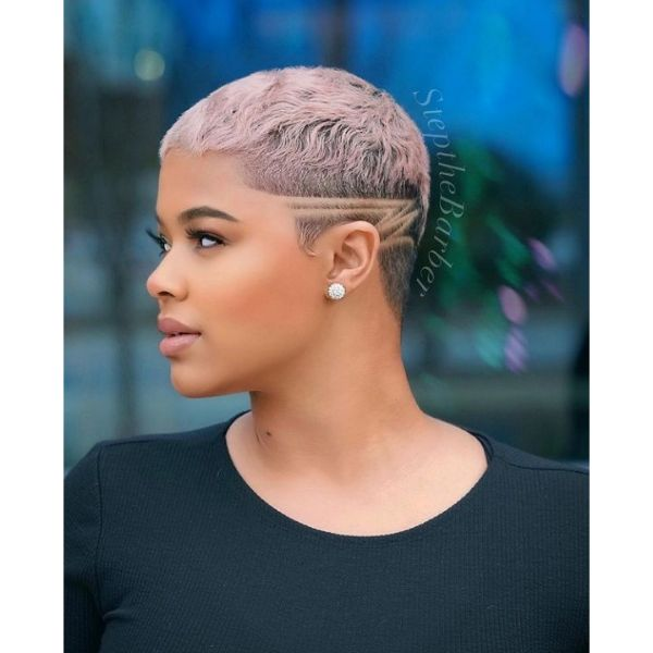 Rose Pink Pixie With Side Razor Design cute hairstyles for short hair