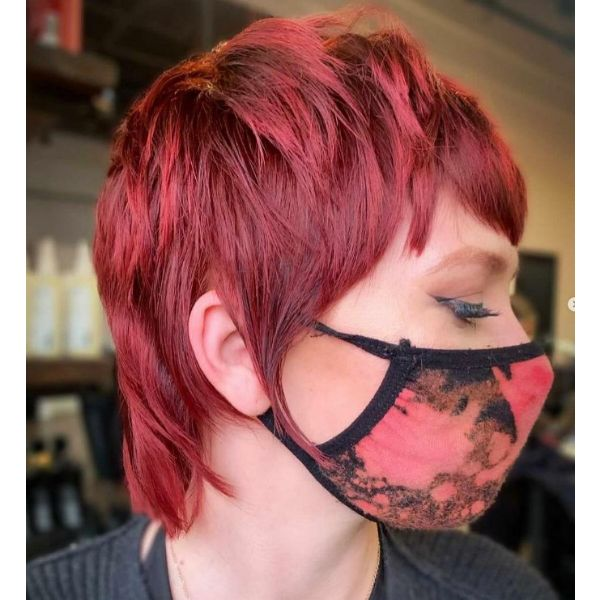 Ruby Red Mullet Cute Short Hairstyle With Textured Top