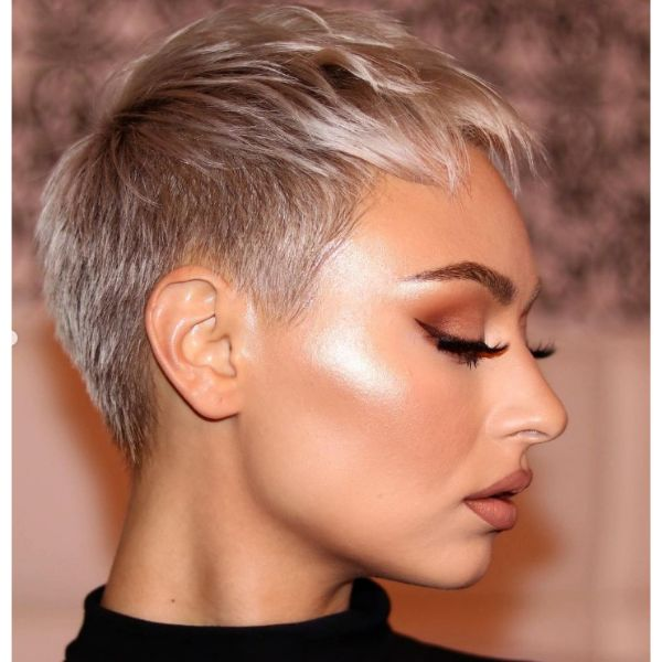 Shiny Silver Pixie Cut With Messy Top