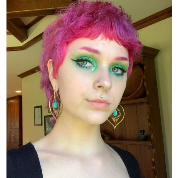 Short Feathered Pink Hairstyle With Baby Bangs cute hairstyles for short hair