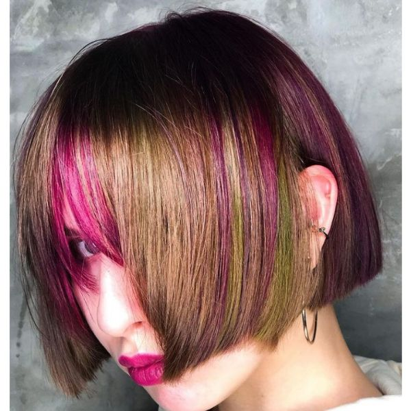 Short Shiny Brown Bob With Pink Highlights cute hairstyles for short hair