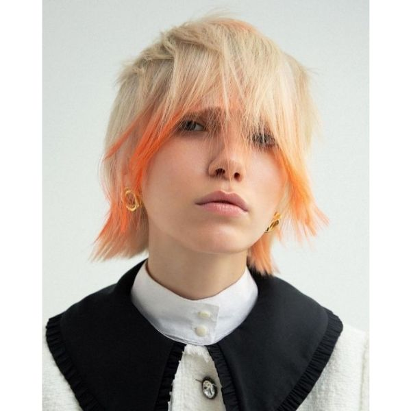 Short Straight Blonde Mullet With Orange Rounded Bangs