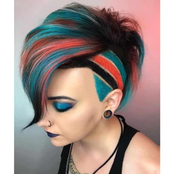 Short Undercut Colored With Bright  Orange Teal Stripes