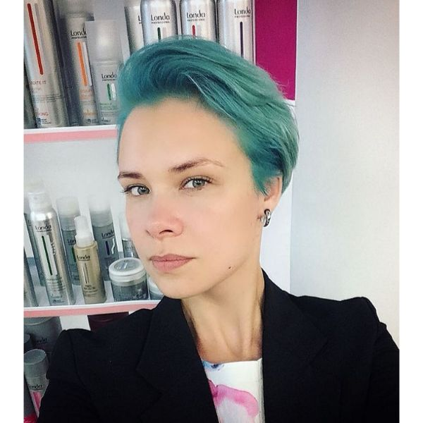 Teal Blue Short Pixie Hairstyles For Women