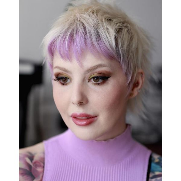 Two-colored Spiky Mullet Pixie With Pastel Purple Bangs
