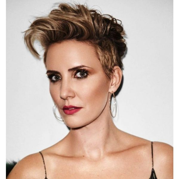 Up-swept Pixie With Side-swept Strands