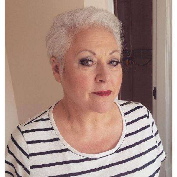 White Silver Fox Cute Short Hairstyle For Women cute hairstyles for short hair