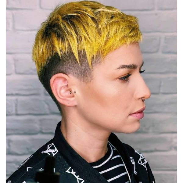 Yellow Blonde Pixie Cut With Textured Top